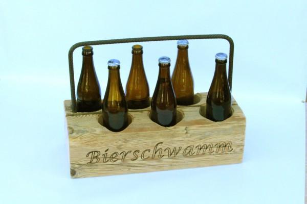 Altholz-Flaschenträger mit Gravur
