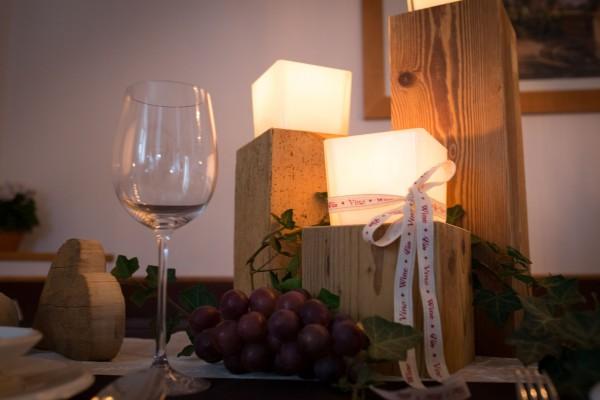 Altholz-Kerzenständer eckig 25 cm, klar