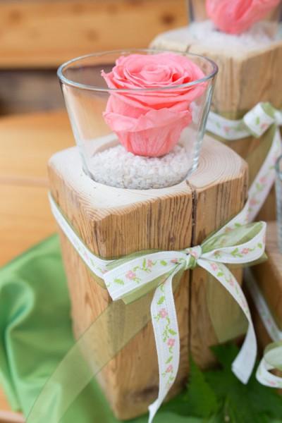 Altholz-Kerzenständer Rundglas