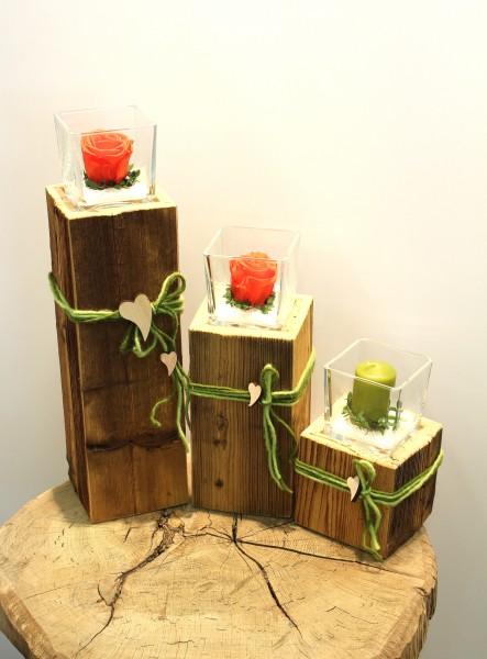 Altholz-Kerzenständer eckig, klar