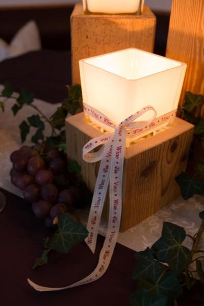 Altholz-Kerzenständer eckig, matt